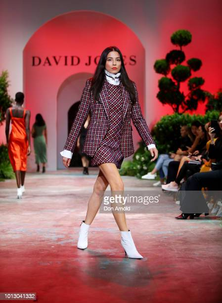 Jessica Gomes showcases designs during the media rehearsal ahead of the David Jones Spring Summer 18 Collections Launch at Fox Studios on August 8...