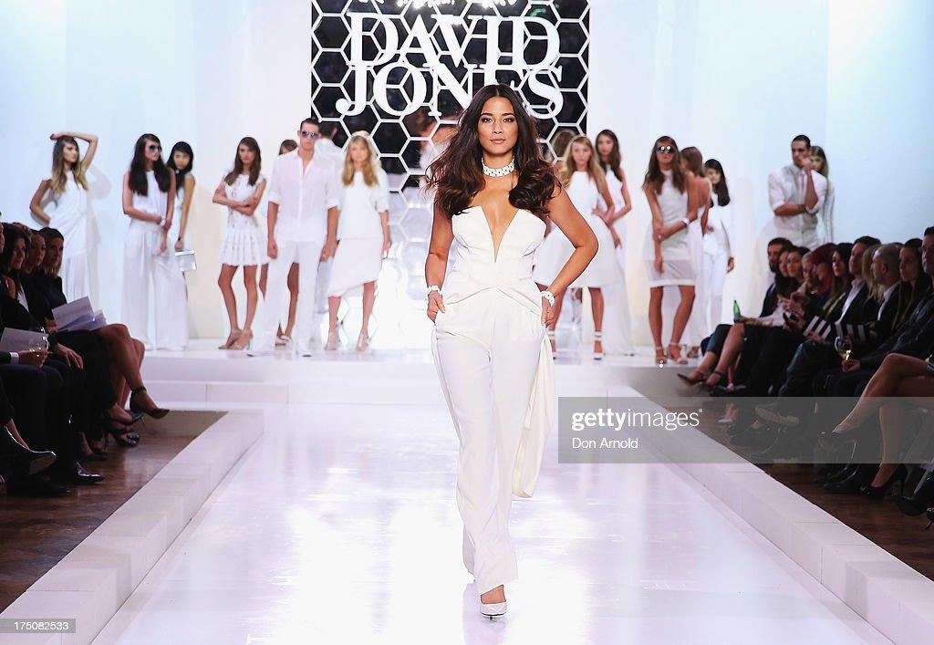 Jessica Gomes showcases designs on the catwalk at the David Jones Spring/Summer 2013 Collection Launch at David Jones Elizabeth Street on July 31, 2013 in Sydney, Australia.