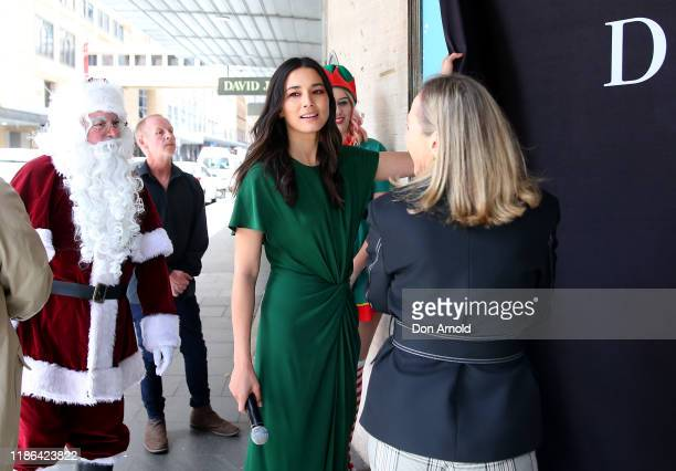 Jessica Gomes unveils the window display during the 2019 Christmas Window unveiling at David Jones Market Street on November 09 2019 in Sydney...