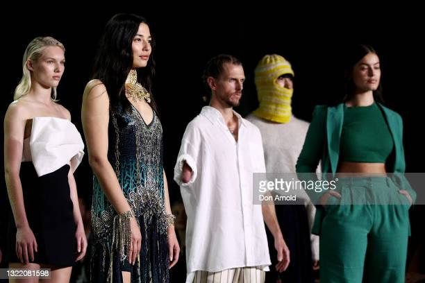 Jessica Gomes walks the runway during the Afterpay's Future of Fashion show during Afterpay Australian Fashion Week 2021 Resort '22 Collections at...
