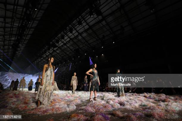 Jessica Gomes walks the runway in a design by Camilla during the Afterpay's Future of Fashion show during Afterpay Australian Fashion Week 2021...