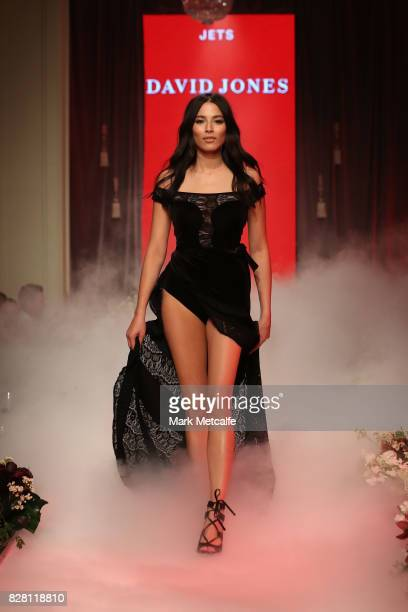 Jessica Gomes walks the runway in a design by Jets during the David Jones Spring Summer 2017 Collections Launch at David Jones Elizabeth Street Store...