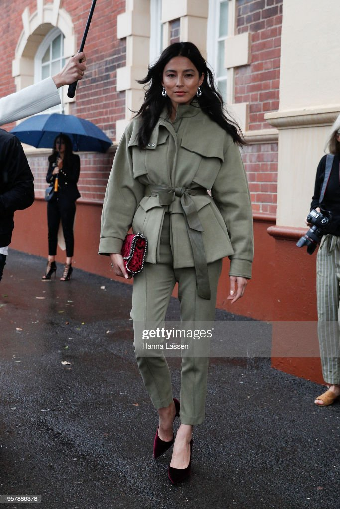 Jessica Gomes wearing Camilla and Marc suit and Stella McCartney clutch during Mercedes-Benz Fashion Week Resort 19 Collections at Carriageworks on May 13, 2018 in Sydney, Australia.
