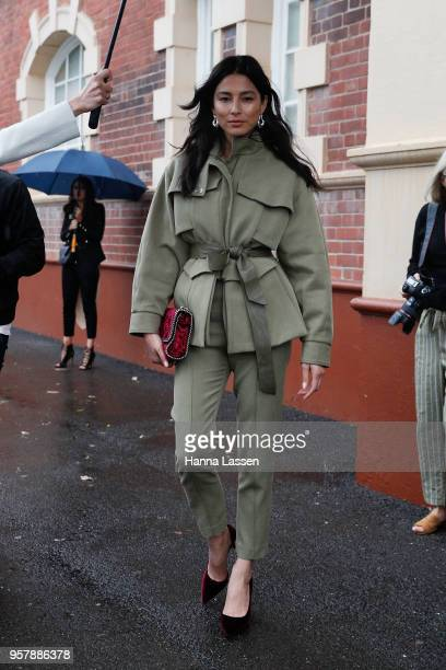Jessica Gomes wearing Camilla and Marc suit and Stella McCartney clutch during MercedesBenz Fashion Week Resort 19 Collections at Carriageworks on...