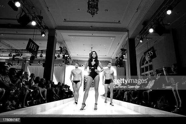Jessica Gomes Zac Stenmark and Jordan Stenmark showcase designs by Jets at the David Jones Spring/Summer 2013 Collection Launch at David Jones...