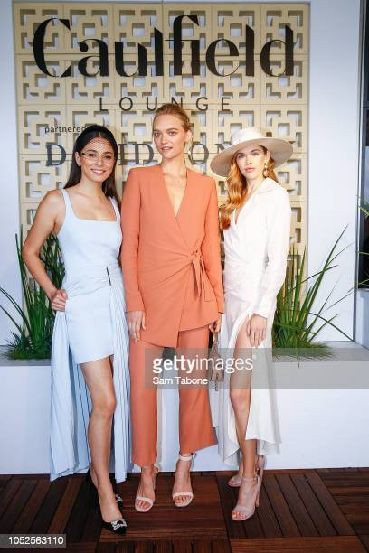 Jessica GomesGemma Ward and Victoria Lee attends 2018 Caulfield Cup Day at Caulfield Racecourse on October 20 2018 in Melbourne Australia