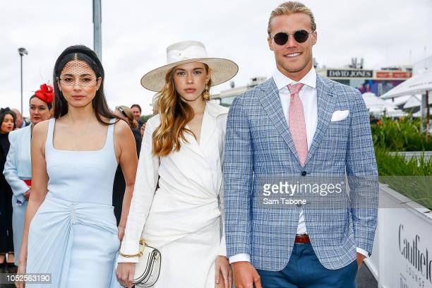 Jessica GomesVictoria Lee and Jett Kenny attends 2018 Caulfield Cup Day at Caulfield Racecourse on October 20 2018 in Melbourne Australia
