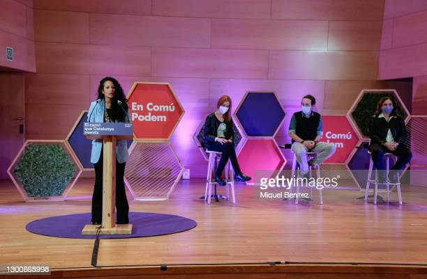 Jessica Gonzalez gives her speech during the rally of the political party En Comú Podem for the Catalan electoral campaign via streaming at the...