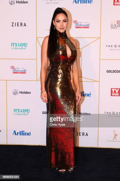 Jessica Green arrives at the 60th Annual Logie Awards at The Star Gold Coast on July 1 2018 in Gold Coast Australia