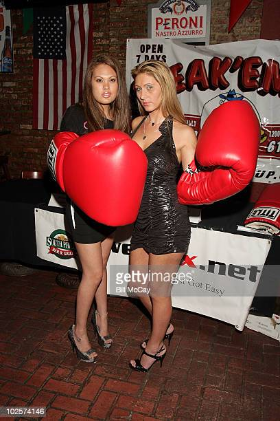 Jessica Grey Lingerie Football Player and Devon James attend the press conference for their upcoming Big Bang Wrestling Match at tthe South Philly...