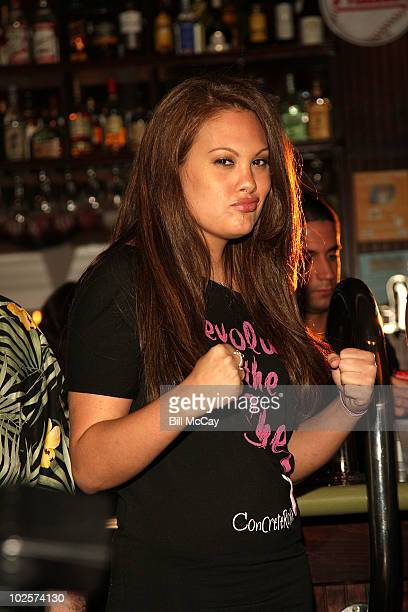 Jessica Grey Lingerie Football Player attends the press conference for her upcoming Big Bang Wrestling Match at tthe South Philly Bar and Grilll July...