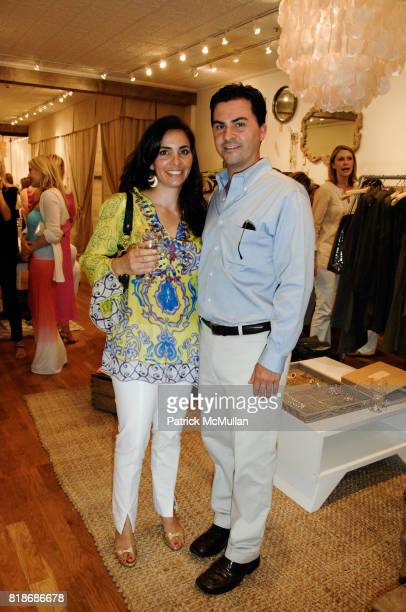 Jessica Guadagno and Aaron Virgin attend What2WearWherecom Plus Calypso ST Barth Summer shopping soiree at Calypso St Barth on June 12 2010 in East...