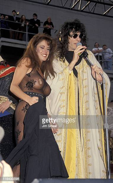 Jessica Hahn and Howard Stern during 1992 Live On Air Press Conference with Howard Stern at The Palace in Hollywood California United States