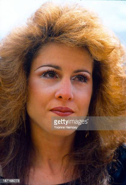 Jessica Hahn's eyes well up as she answers questions and is photographed by the press April 15 1987 at her home in Long Island New York Hahn...