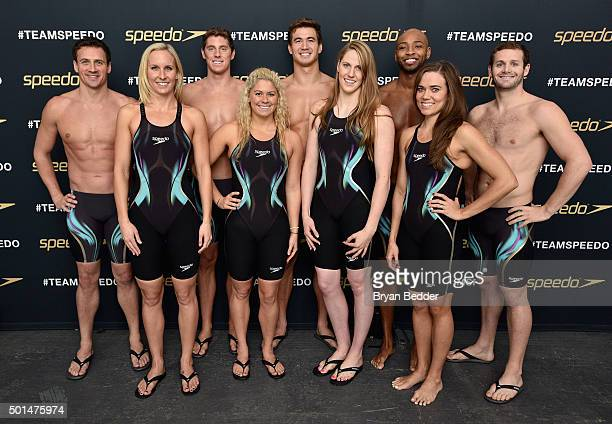 Jessica Hardy Elizabeth Beisel Missy Franklin Natalie Coughlin Ryan Lochte Conor Dwyer Nathan Adrian Cullen Jones and Tyler Clary appear during the...