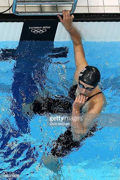 Jessica Hardy of the United States looks on after finishing fourth in the Women's 50m Freestyle Semi Final on Day 7 of the London 2012 Olympic Games...