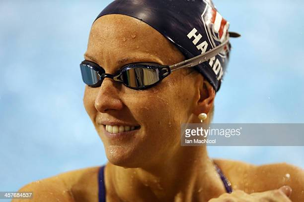 Jessica Hardy of USA takes part in a training session prior to the Duel In The Pool at Tollcross International Swimming Centre on December 18 2013 in...