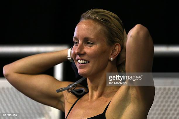 Jessica Hardy of USA takes part in a training session prior to the Duel In The Pool at Tollcross International Swimming Centre on December 19 2013 in...