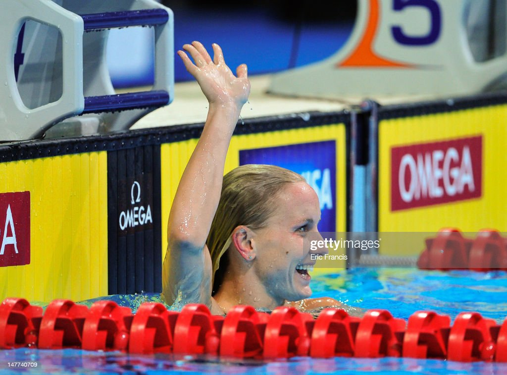 Jessica Hardy waves after winning the 50m Freestyle during day eight of the 2012 U.S. Olympic Swimming Team Trials at the CenturyLink Center July 2, 2012 in Omaha, Nebraska.