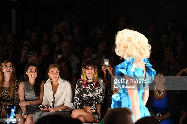Jessica Hart and Chloe Norgaard attend the Betsey Johnson fashion show during MercedesBenz Fashion Week Spring 2015 at The Salon at Lincoln Center on...