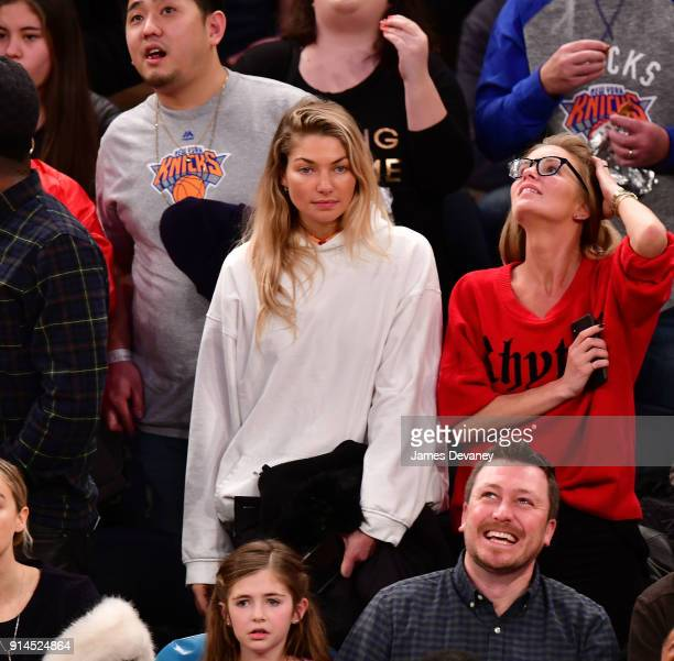 Jessica Hart and guest attend the New York Knicks vs Atlanta Hawks game at Madison Square Garden on February 4 2018 in New York City