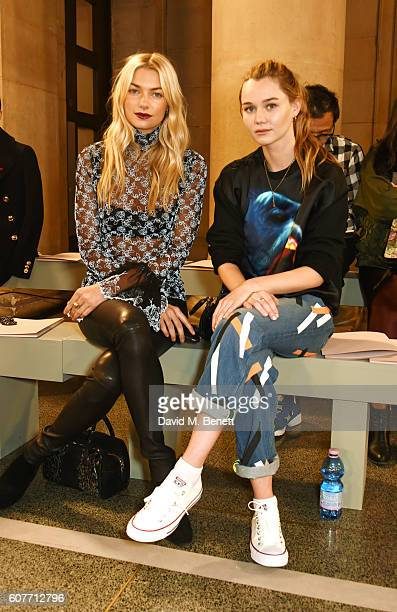 Jessica Hart and Immy Waterhouse attend the Christopher Kane show during London Fashion Week Spring/Summer collections 2017 on September 19 2016 in...