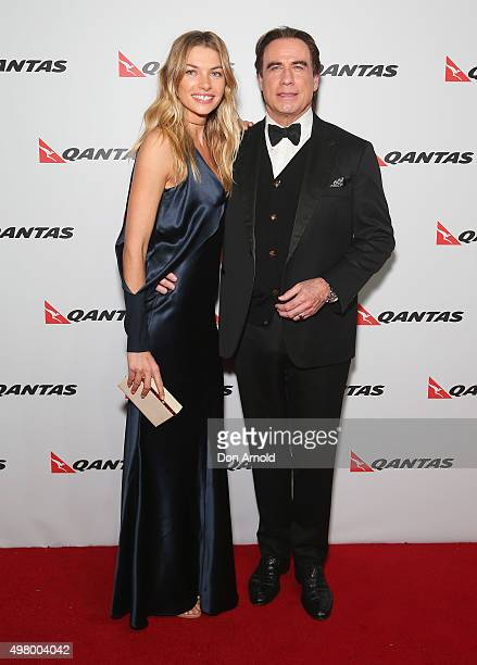 Jessica Hart and John Travolta arrive at the QANTAS 95th Birthday Gala Celebration at Hangar 96 in the Qantas Jetbase on November 20 2015 in Sydney...