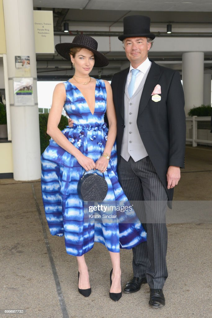 Jessica Hart and Laurent Feniou attend day 3 of Royal Ascot at Ascot Racecourse on June 22, 2017 in Ascot, England.