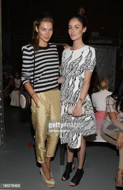 Jessica Hart and Nicole Trunfio attend the Wes Gordon presentation during MercedesBenz Fashion Week Spring 2014 on September 10 2013 in New York City