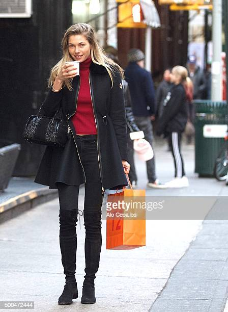 Jessica Hart are seen in Soho on December 8 2015 in New York City