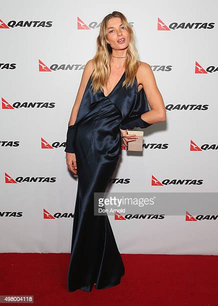 Jessica Hart arrives at the QANTAS 95th Birthday Gala Celebration at Hangar 96 in the Qantas Jetbase on November 20 2015 in Sydney Australia