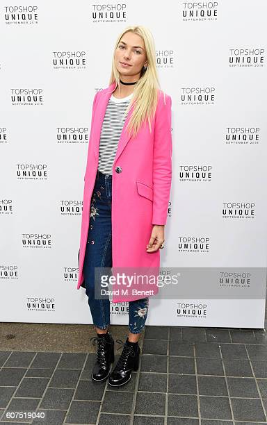 Jessica Hart arrives at the Topshop Unique show during London Fashion Week Spring/Summer Collections 2017 at Old Spitalfields Market on September 18...