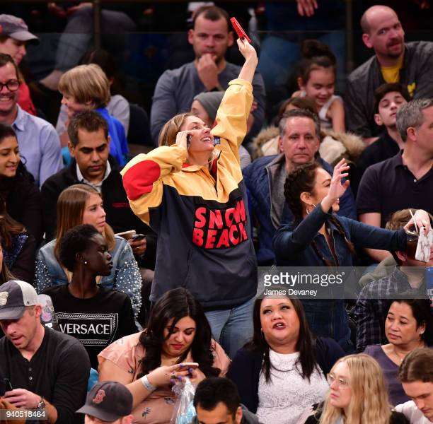 Jessica Hart attends New York Knicks vs Detroit Pistons game at Madison Square Garden on March 31 2018 in New York City