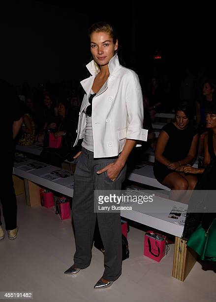 Jessica Hart attends the Betsey Johnson fashion show during MercedesBenz Fashion Week Spring 2015 at The Salon at Lincoln Center on September 10 2014...