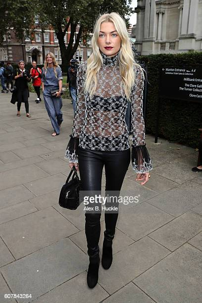 Jessica Hart attends the Christopher Kane show at Tate Britain during London Fashion week on September 19 2016 in London England