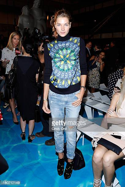 Jessica Hart attends the Tory Burch fashion show during MercedesBenz Fashion Week Spring at David H Koch Theater at Lincoln Center on September 10...