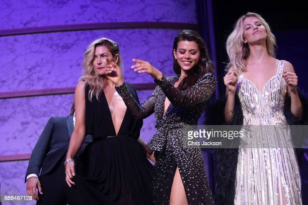 Jessica Hart Georgia Fowler and Hailey Clauson on stage at the amfAR Gala Cannes 2017 at Hotel du CapEdenRoc on May 25 2017 in Cap d'Antibes France