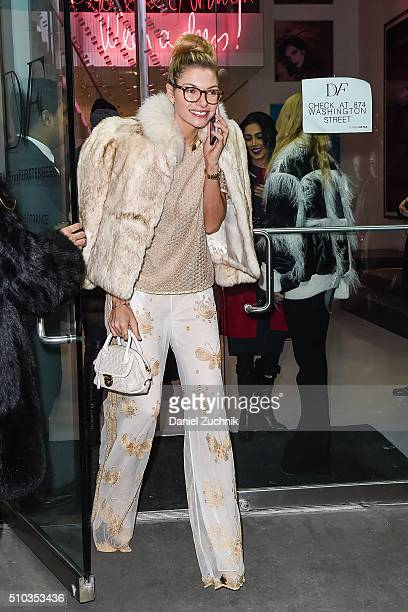 Jessica Hart is seen outside the DVF show during New York Fashion Week: Women's Fall/Winter 2016 on February 14, 2016 in New York City.