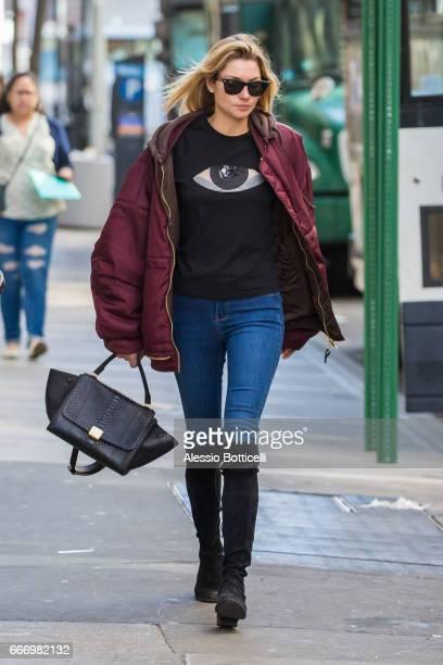 Jessica Hart is seen walking in Greenwich Village on April 10 2017 in New York New York