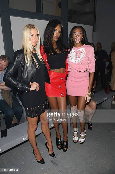 Jessica Hart Jourdan Dunn and Winnie Harlow attend the Verses show during London Fashion Week Spring/Summer collections 2017 on September 17 2016 in...