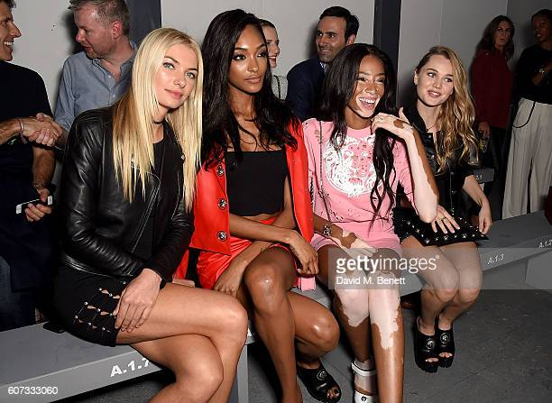 Jessica Hart Jourdan Dunn Winnie Harlow and Immy Waterhouse attend the VERSUS show during London Fashion Week Spring/Summer collections 2017 on...