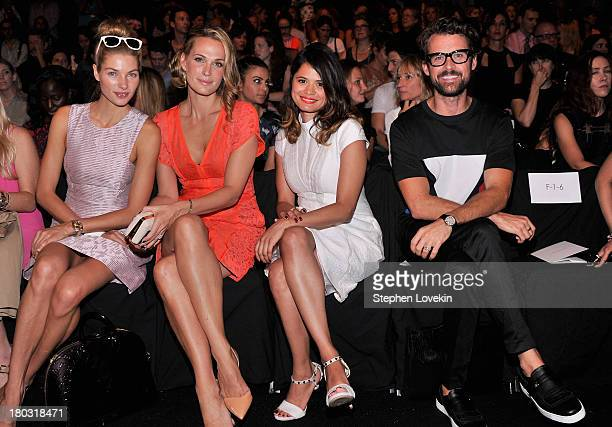 Jessica Hart Molly Sims Melonie Diaz and Brad Goreski attend the J Mendel fashion show during MercedesBenz Fashion Week Spring 2014 at The Theatre at...