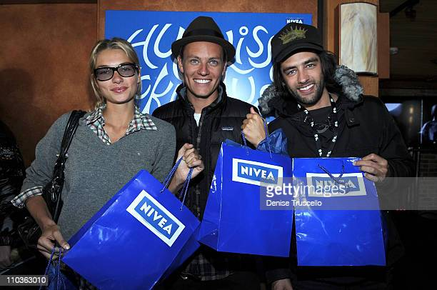 Jessica Hart, Nicolas Potts and Jay Lyon visit the Nivea Lounge at Island Def Jam House of Hype Hospitality Suite on January 17, 2009 in Park City,...
