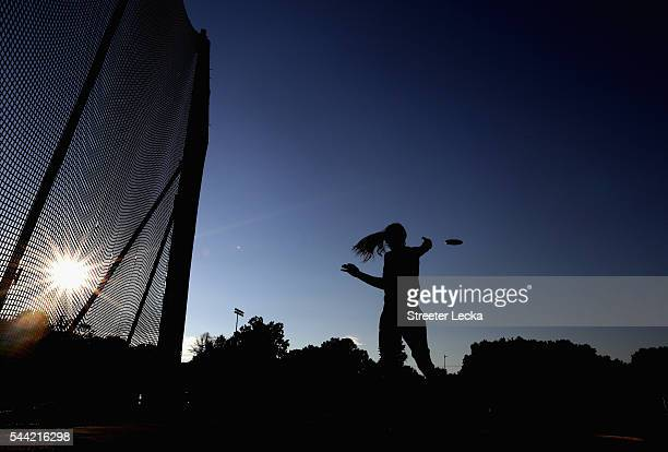 Jessica Heims competes in the women's discus throw for the 2016 US Paralympics Trials in Track and Field at Irwin Belk Complex at Johnson C Smith...