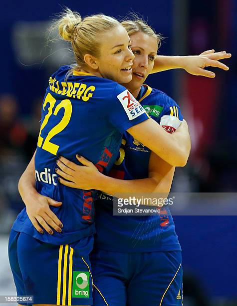 Jessica Helleberg and Johanna Ahlm of Sweden celebrates victory against Czech Republic after the Women's European Handball Championship 2012 Group I...