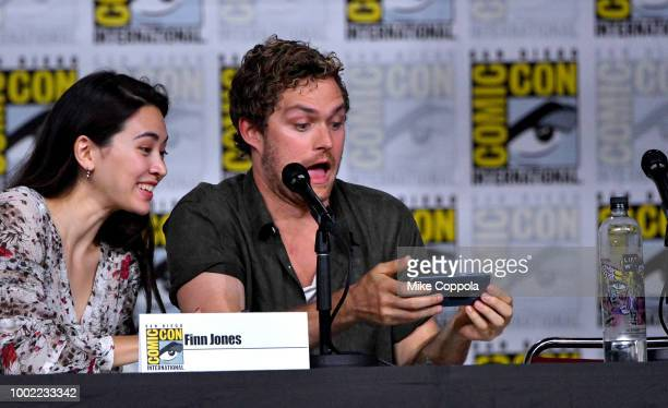 Jessica Henwick and Finn Jones speak onstage at Netflix Marvel's Iron Fist during ComicCon International 2018 at San Diego Convention Center on July...