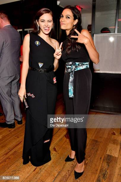 Jessica Henwick and Rosario Dawson attend the Marvel's The Defenders New York Premiere After Party at The Standard Biergarten on July 31 2017 in New...