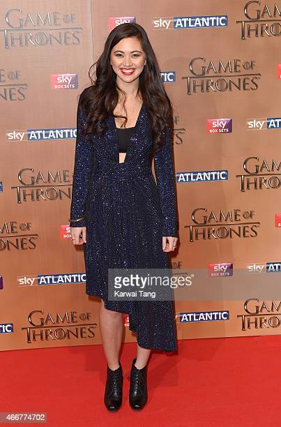 Jessica Henwick arrives for the world premiere of Game of Thrones Season 5 at Tower of London on March 18 2015 in London England