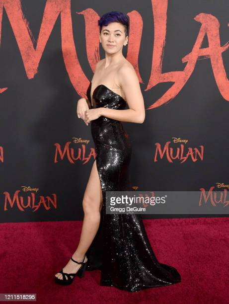 """Jessica Henwick attends the Premiere Of Disney's """"Mulan"""" on March 09, 2020 in Hollywood, California."""