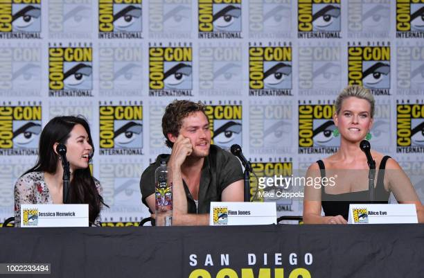 Jessica Henwick Finn Jones and Alice Eve speak onstage at Netflix Marvel's Iron Fist during ComicCon International 2018 at San Diego Convention...
